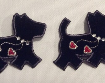 2 Small jewelled Scottie dog appliques