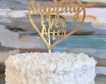 Happily Ever After Glitter Wedding Cake Topper