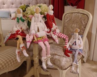 Tilda doll, gift for her -ice skating angel (pink)