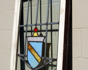 Original Wavy Leaded and Stained Glass Window, Shield, Architectural Salvage