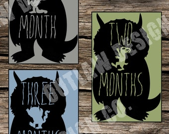 Baby Monthly Milestone Markers Printable Instant Download Gender Neutral Where The Wild Things Are Crown Max Monster Boy Girl Age Stickers