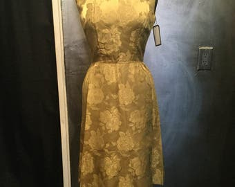 1950s yellow floral wiggle dress-S