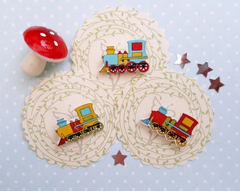 Mini Wooden Train Badge Brooch Party Favour Birthday Gift Boys Accessories Car Button Transport Wooden Badge Button Badge, Pin, Pinback