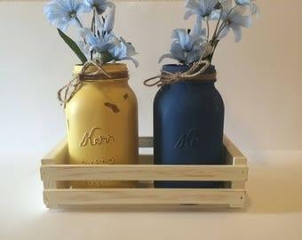 Mason jars and crate, mason jar set, mason jar table decor, distressed crate, mason jar table decor, distressed mason jars, painted jars