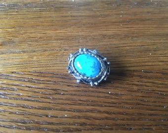 Blue gem brooch - vintage - oval silver tone mount