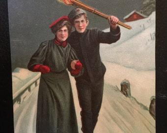 1889--Postcard--Christmas Card--Vintage Old Postcard