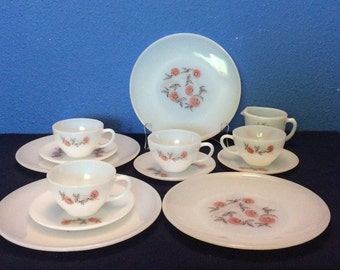 Vintage Fire King Fleurette, Four Plates, Four Cups, Four Saucers and a Creamer