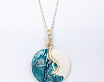 Pure silver and polymer clay pendant handmade necklace