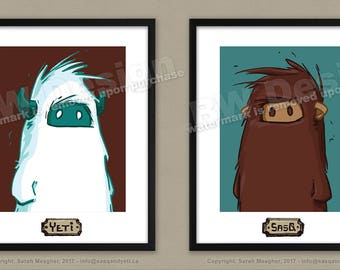 Sasq and Yeti Portraits, 2 printables