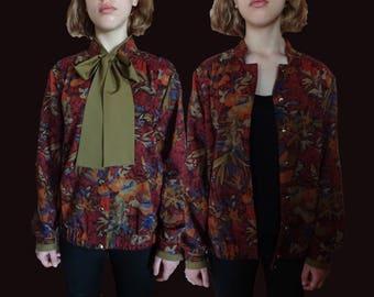 Vintage floral jacket, vintage floral bomber, high quality floral jacket, 80s floral bomber, 80s jacket, jacket with bow, wool jacket XS S M
