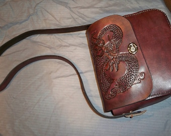 Leather Pocketbook with dragon design
