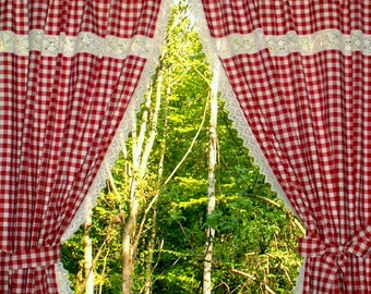Red and white gingham kitchen curtains 2 scarves with lace