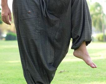 Olive-green Ninja Style Samurai Harem Yoga Pants Warrior Trousers - MHP001