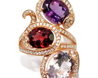 Ring rose gold 18K with amethysts and diamonds