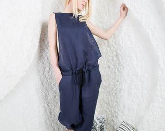 Linen jumpsuit, linen overall, Summer jumpsuit, women overall, Soft linen, Linen romper, Oversize jumpsuit/LJ0001