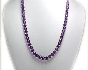 "15% OFF Top Quality Natural african amethyst balls  Necklace , 14 inch stand 8X8 mm faceted amethyst balls , ""1"" stand in 45 balls"