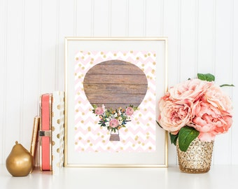 Hot Air Balloon Print-Girl Nursery Print-Wooden Balloon-Pink Chevron-Gold Foil Dots-Printable Art-Kids Room-Instant Download-Wall Art