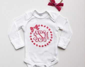 Bow Monogram Onesie