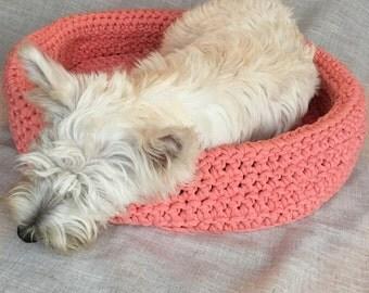 Crochet Dog Bed   Crochet Pet Bed   Dog Basket   Tshirt Yarn   Dog Furniture   Pink  