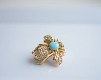 Vintage Gold Tone Bumble Bee Pin, Brooch, Something Blue