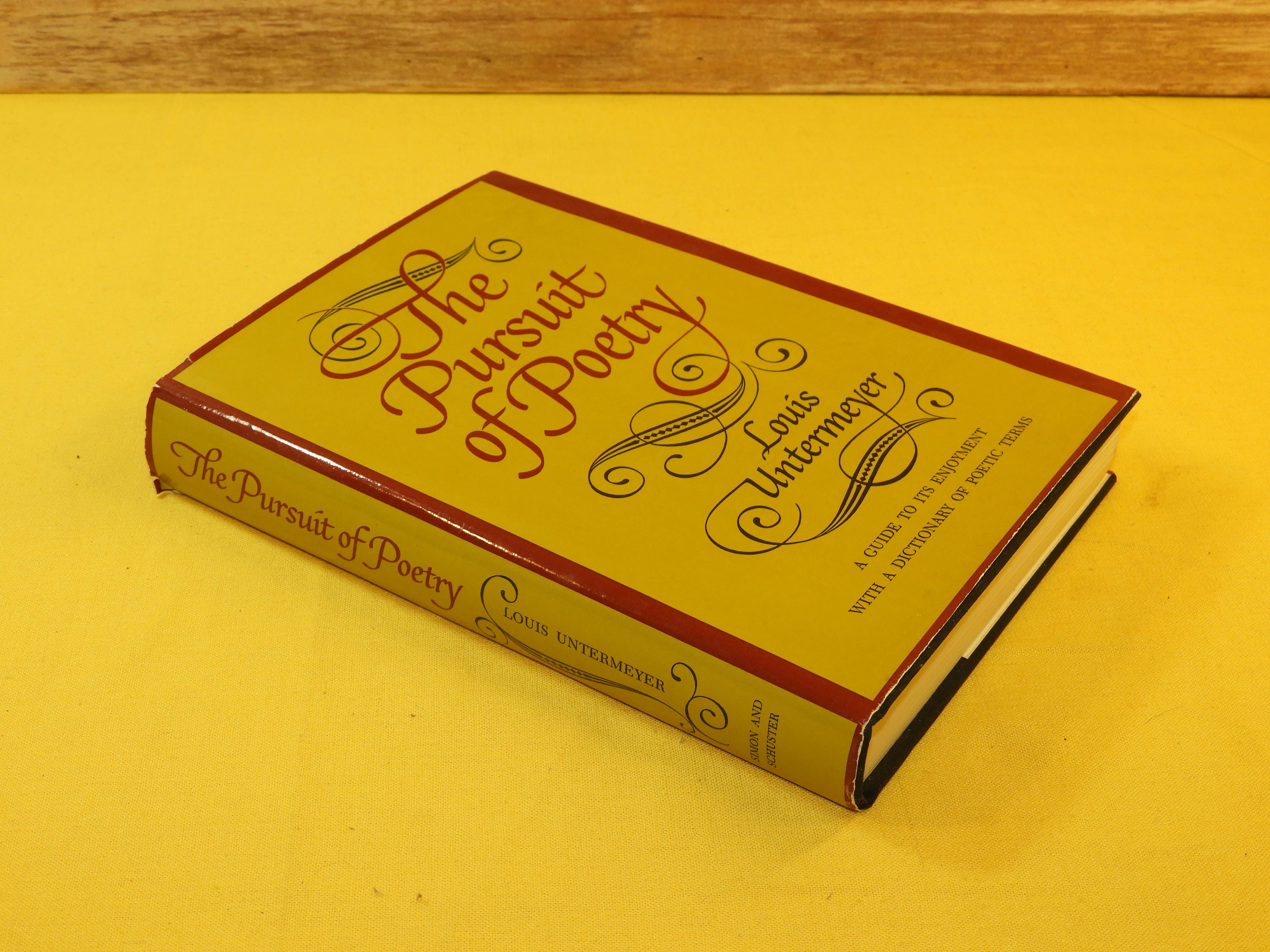 Yellow Cover Poetry Book : Vintage rare first printing poetry book the pursuit