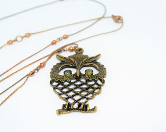 Vintage Owl Necklace with Genuine Tourmaline Eyes