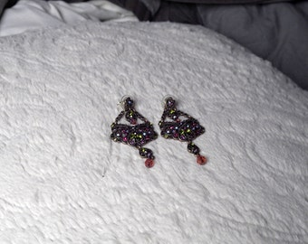 Copper & Rhinestone Butterfly Chandelier Earrings