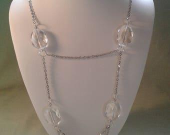 extra long silver chain diamond  (glass beads)