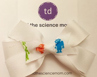 White Hair Bow, Girls Hair Bow, Girls Science Hair Bow, Kids Gift ideas, Hair Bows for Girls, Girls Hair Accessories, STEM, Back to School