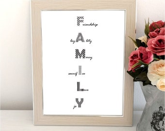 Family illustration print, Instant download, wall decor
