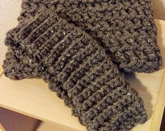 Brown Crochet Cowl and Headband