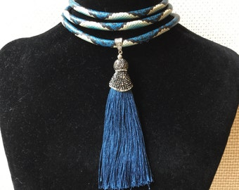 Necklaces with tassels, unique snake print choker, worn with several options