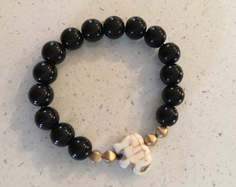 Black Beaded Bracelet with Stone Elephant Accent