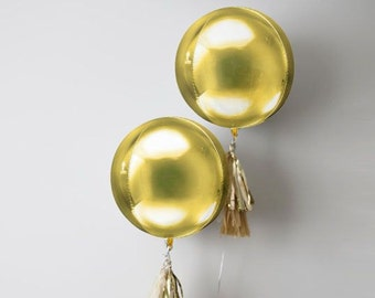 Large Round Gold Balloon/ Round Metallic Gold Balloon/ Gold Balloons/ Glamorous Gold Round Balloons
