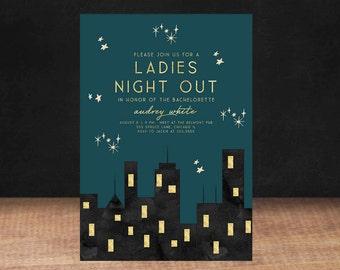 CITY BACHELORETTE PARTY Invitation, Ladies Night Out, bachelorette party, Printable Invitation, Stationary
