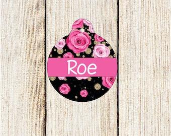 Floral Pet ID Tag - Custom Pet ID Tag  - Personalized Pet Tag