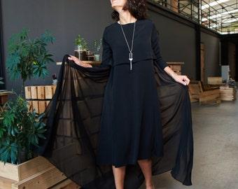 Black Dress/ Black Tunic/ Chiffon Back Dress/ Designer Dress/ High Quality Dress/ Elegant Dress/ Long sleeve/ Fall