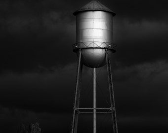 Rural Water Tower / industrial black and white photograph, fine art, urban wall art print, urban photo, b&w photography, industrial decor