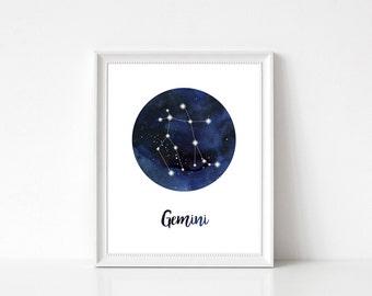 Gemini Constellation, Gemini Print, Gemini Wall Art, Gemini Home Decor, Gemini Wall Decor, Zodiac Print, Gemini Stars, Zodiac Constellation