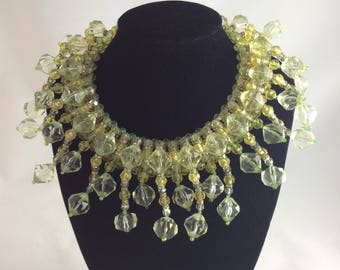 Fabulous 1960's Chartreuse and Lime Faceted Bead ' GO GO ' Collar !!!!!