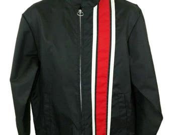 Mel Nick Racing Jacket Vintage 70s REPCO Spartan Ring Zipper Black Charcoal Gray Mens Size Medium EUC