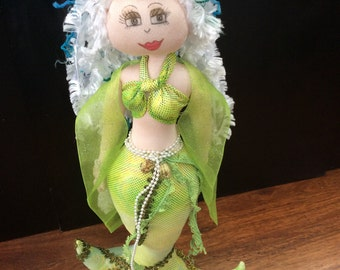 mermaid doll,Standing mermaid,textile doll,handmade gift,OOAK,marnie