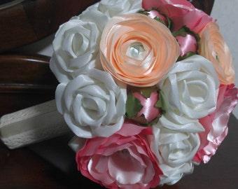 Peony, roses, ranunkulus wedding bouquet