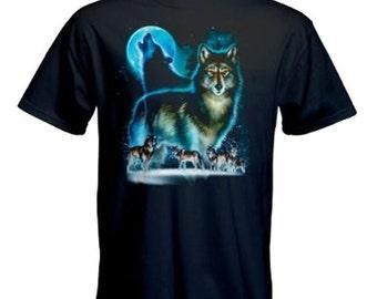 Wolf Moon  Silhouette Printed Black  Cotton T Shirt