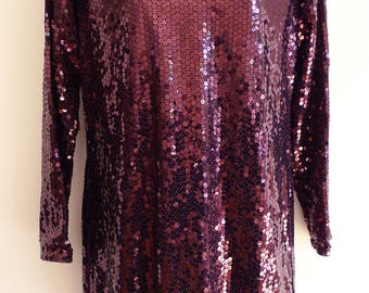 Yves Saint Laurent dark wine red sequin mini tunic dress