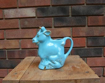 Pearl China Co. 22 kt. Gold Baby Blue Hand Decorated Cow Milk Pitcher