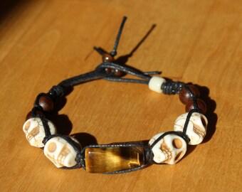 Protection of the ancestors - Shamballa, macrame, Tiger eye bracelet