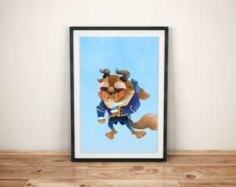 Beauty and Beast Print-Printed Beauty and Beast-Disney Belle Art-Kids Disney Belle-Disney Belle Prints- Disney Belle Prince Prince-Beast