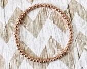 4mm, 18K Rose Gold Filled, Bead Bracelet, Sterling Silver Filled, Metal Bead Bracelet, Stretch Bracelet, Stacking Bracelet