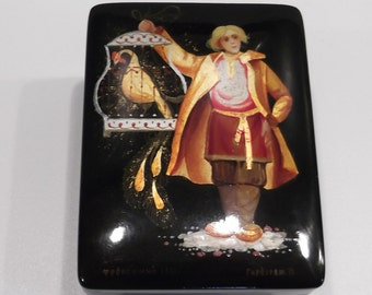 """Hand-painted Russian lacquer box depicting """"The little shepherd""""-with certificate"""